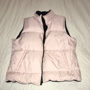 Jackets & Blazers - Pastel Light Pink and Black Reversible Puffy Vest